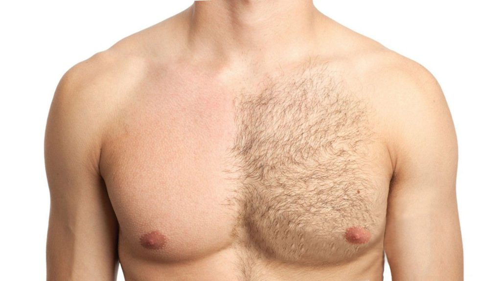 man's half shaved chest